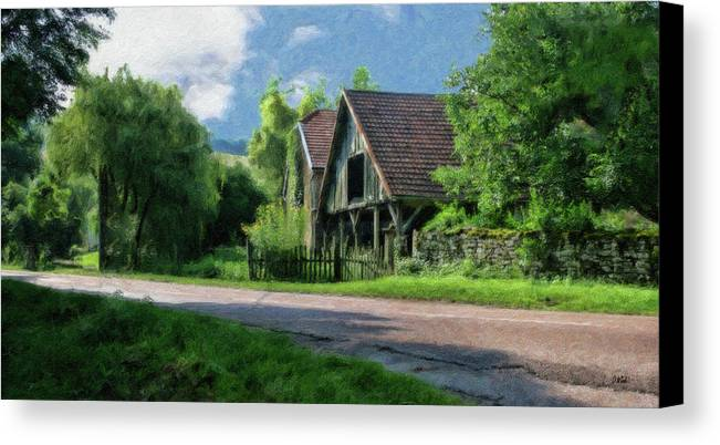 Dean Wittle Canvas Print featuring the painting Barn Near Lac De Panthier - P4a160017 by Dean Wittle