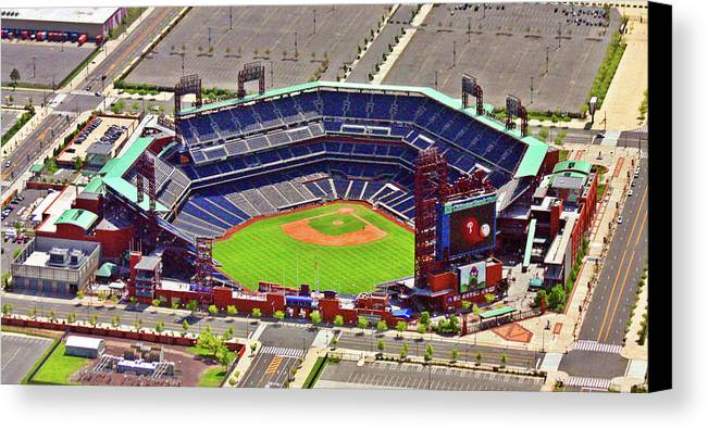 Aerial Photograph Canvas Print featuring the photograph Citizens Bank Park Phillies by Duncan Pearson