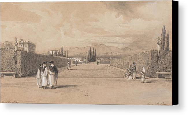 Art Canvas Print featuring the painting Edward Lear - The Gardens Of The Villa Albani by Edward Lear
