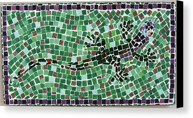 Gecko Canvas Print featuring the ceramic art Gecko by Jamie Frier