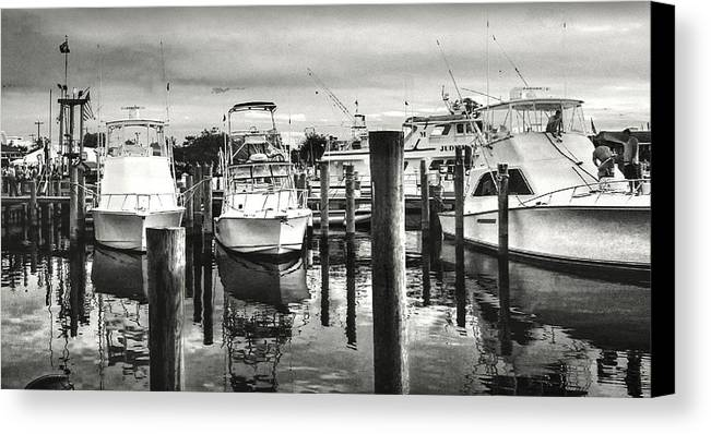 Black And White Canvas Print featuring the photograph Harbour Scene by Michael Forte
