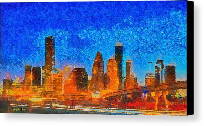 Houston Skyline Canvas Print featuring the painting Houston Skyline 40 - Pa by Leonardo Digenio