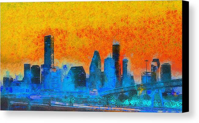 Houston Skyline Canvas Print featuring the painting Houston Skyline 41 - Pa by Leonardo Digenio
