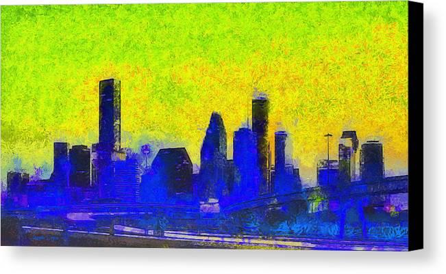 Houston Skyline Canvas Print featuring the painting Houston Skyline 42 - Pa by Leonardo Digenio