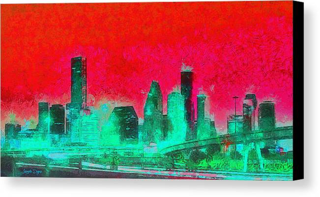 Houston Skyline Canvas Print featuring the painting Houston Skyline 47 - Pa by Leonardo Digenio