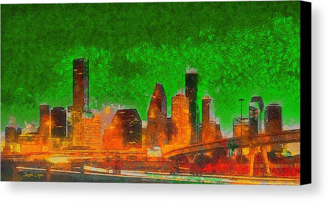 Houston Skyline Canvas Print featuring the painting Houston Skyline 48 - Pa by Leonardo Digenio