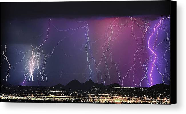 Lightning Canvas Print featuring the photograph Lightning City by James BO Insogna