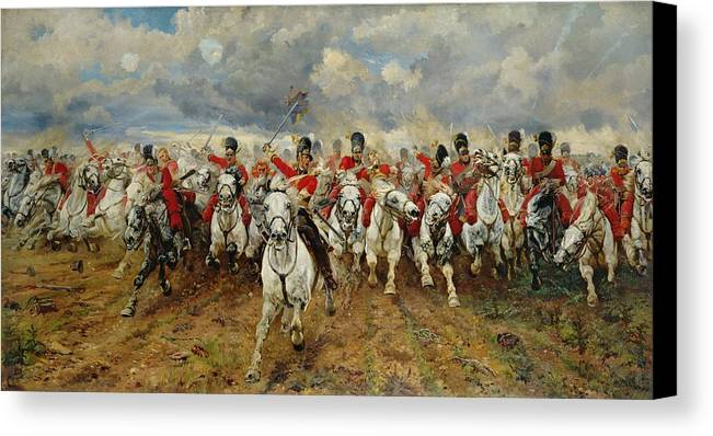 Scotland For Ever! 1881 (oil On Canvas) By Lady Butler (elizabeth Southerden Thompson) (1846-1933) Canvas Print featuring the painting Scotland Forever by Elizabeth Southerden Thompson