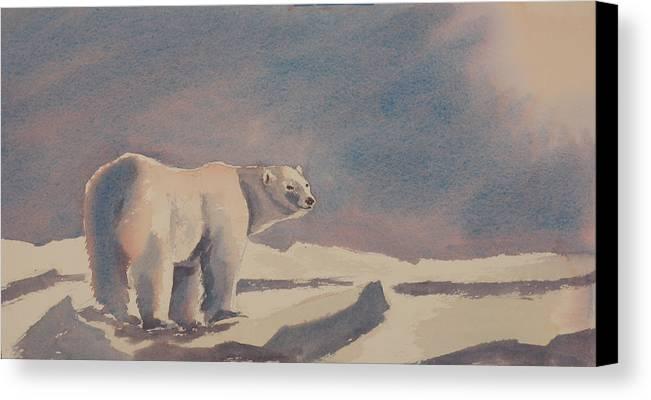 Polar Bear Canvas Print featuring the painting Solitary Polar Bear by Debbie Homewood