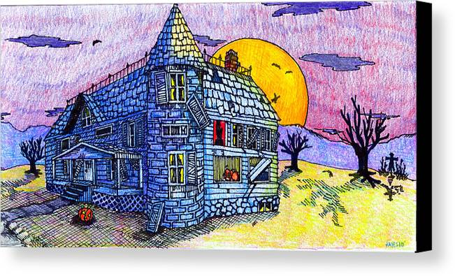 House Canvas Print featuring the drawing Spooky House by Jame Hayes