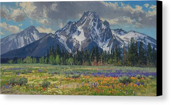 Landscape Canvas Print featuring the painting Spring In Wyoming by Lanny Grant