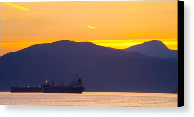 Vancouver Canvas Print featuring the photograph Sunset And Tanker by Paul Kloschinsky