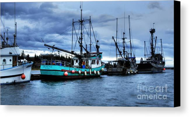 Boats Canvas Print featuring the photograph Waiting For Dawn by Bob Christopher