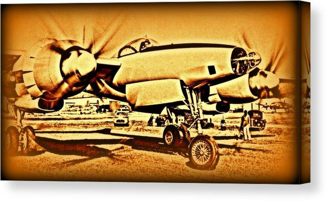3202 Canvas Print featuring the photograph  Howard Hughes And The Hughes Xf-11 by Hank Clark