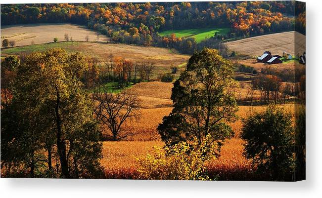 Fal Colors Reds Greens Orange Galena Illinois Canvas Print featuring the photograph Galena Twilight by Todd Sherlock