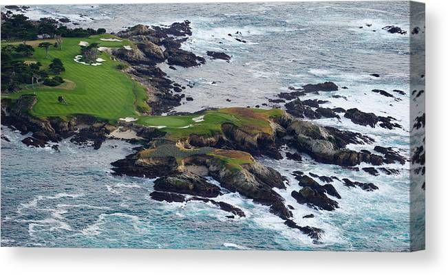 Photography Canvas Print featuring the photograph Golf Course On An Island, Pebble Beach by Panoramic Images