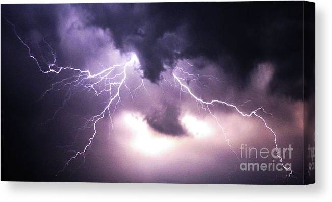 Lightening Canvas Print featuring the photograph Spider Lightening by Angela Wright