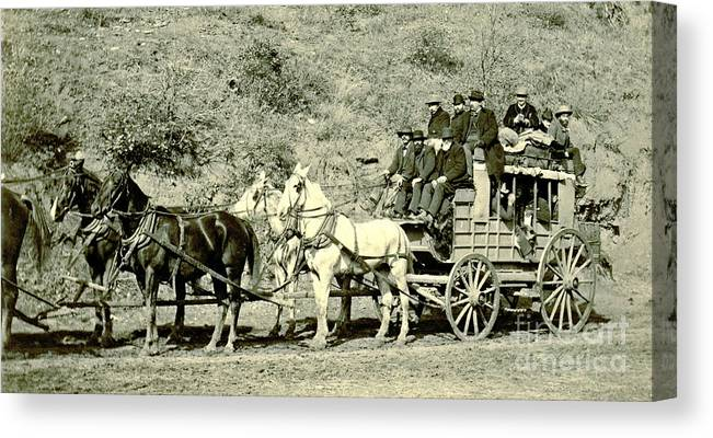 Last Deadwood Coach 1890 Canvas Print featuring the photograph Last Deadwood Coach 1890 by Padre Art