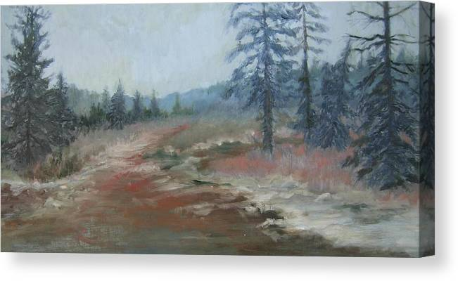 Woods Canvas Print featuring the painting Moose Country by Holly Stone