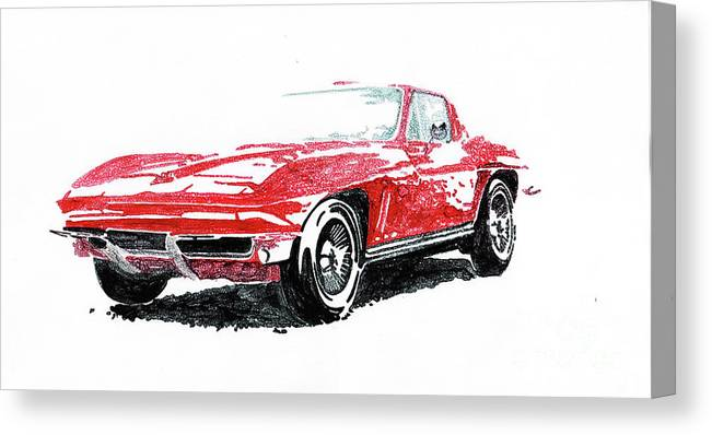 Cars Canvas Print featuring the painting 1965 Corvette by Diane Coble