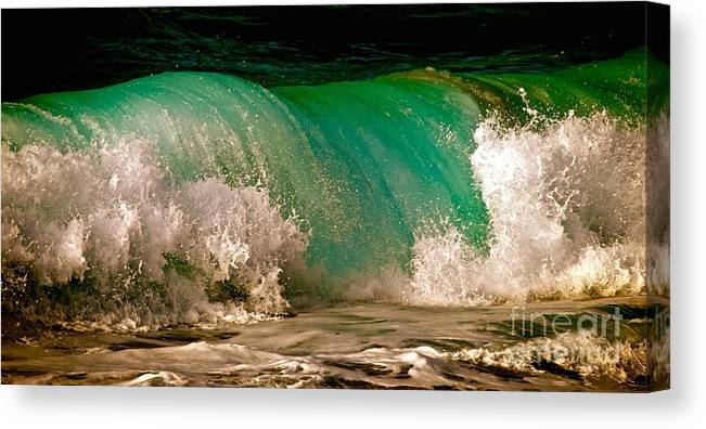 Wave Canvas Print featuring the photograph Aqua Green Wave by Debra Banks