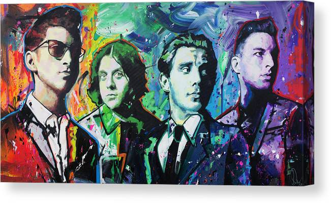 Arctic Monkeys Canvas Print featuring the painting Arctic Monkeys by Richard Day