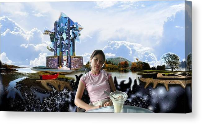 Spacem Maine Canvas Print featuring the digital art Emma's Afternoon Snack by Dave Martsolf