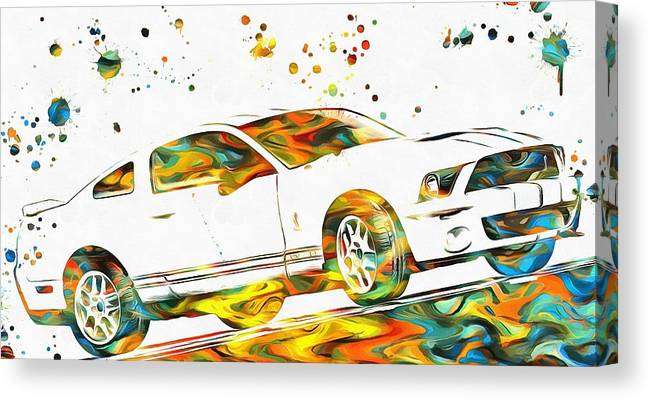 Ford Mustang Paint Splatter Canvas Print featuring the painting Ford Mustang Paint Splatter by Dan Sproul
