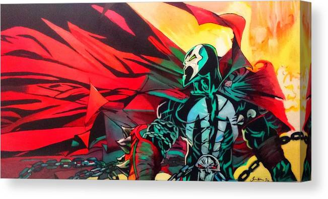 Spawn Canvas Print featuring the painting Hell Of A Day by Jason Majiq Holmes