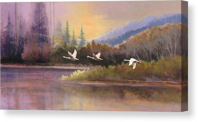 Landscape Canvas Print featuring the painting Northern Flight by Dalas Klein