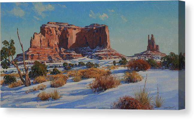 Landscape Canvas Print featuring the painting Saddleback Butte-monument Valley by Lanny Grant