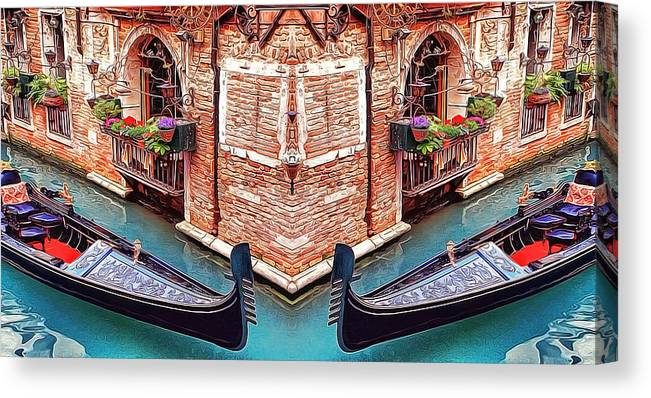 Rialto Canvas Print featuring the painting Venice Abstract Corner Boats Romantic Rendezvous-crash Dream by Nenad Cerovic
