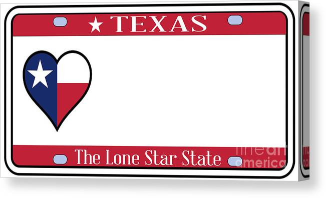 Texas Canvas Print featuring the digital art Texas State License Plate by Bigalbaloo Stock