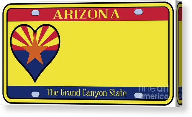 Arizona Canvas Print featuring the digital art Arizona State License Plate by Bigalbaloo Stock