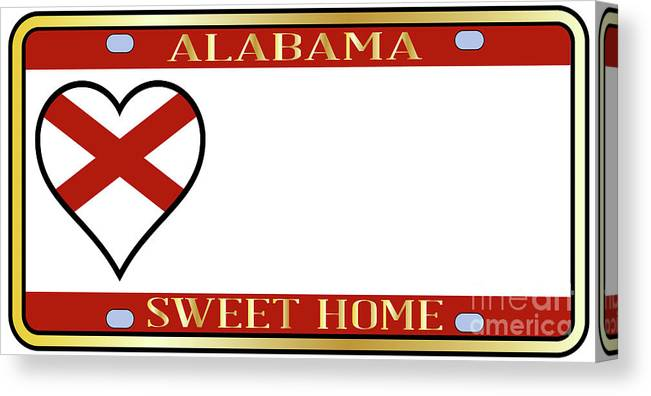 Alabama Canvas Print featuring the digital art Alabama State License Plate by Bigalbaloo Stock