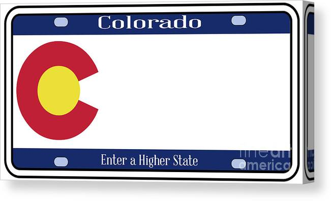Colorado Canvas Print featuring the digital art Colorado State License Plate by Bigalbaloo Stock