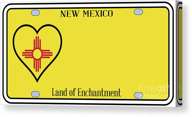 New Mexico Canvas Print featuring the digital art New Mexico State License Plateai by Bigalbaloo Stock