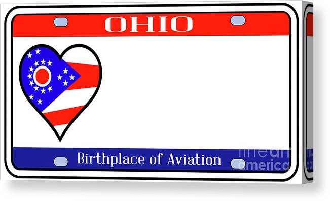 Ohio Canvas Print featuring the digital art Ohio License Plate by Bigalbaloo Stock
