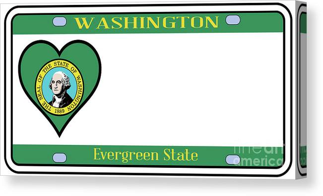 Washington Canvas Print featuring the digital art Washington State License Plate by Bigalbaloo Stock