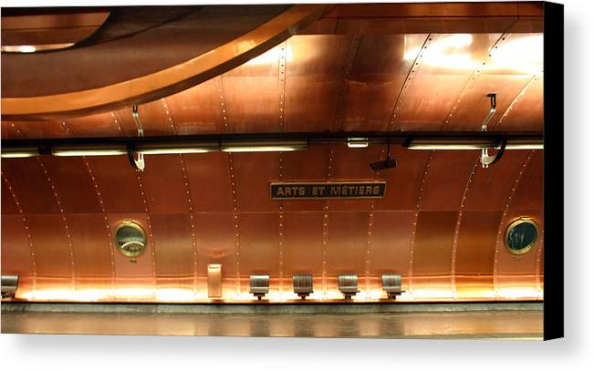 Canvas Print featuring the photograph Arts Et Metiers Metro by A Morddel