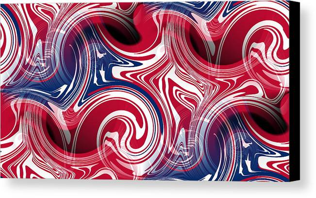 Flag Canvas Print featuring the digital art Abstract American Flag by Ron Hedges