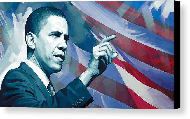 Barack Obama Paintings Canvas Print featuring the painting Barack Obama Artwork 2 by Sheraz A