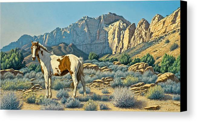 Landscape Canvas Print featuring the painting Canyon Country Paints by Paul Krapf