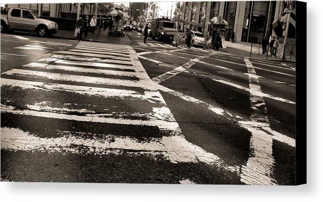 Crosswalk In New York City Canvas Print featuring the photograph Crosswalk In New York City by Dan Sproul