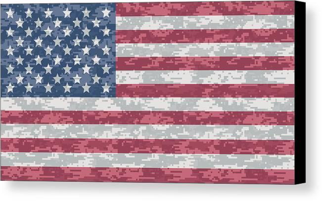 Flag Canvas Print featuring the digital art Digital Camo Us Flag by Ron Hedges