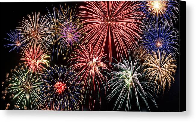 4th Canvas Print featuring the photograph Fireworks Spectacular IIi by Ricky Barnard