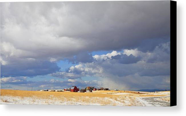 Farm Canvas Print featuring the photograph First Snow On Storybook Farm by Theresa Tahara