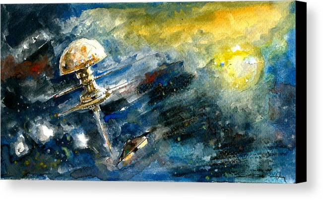 Space Canvas Print featuring the painting Homecoming by Ertan Aktas