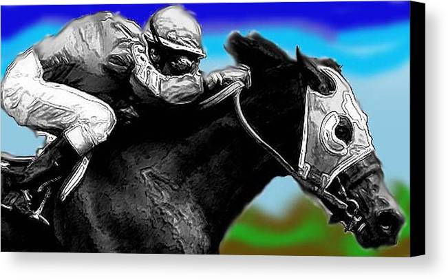 Horses Canvas Print featuring the photograph Horseracing by Bruce Iorio