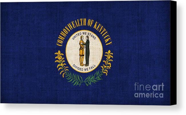 Kentucky Canvas Print featuring the painting Kentucky State Flag by Pixel Chimp